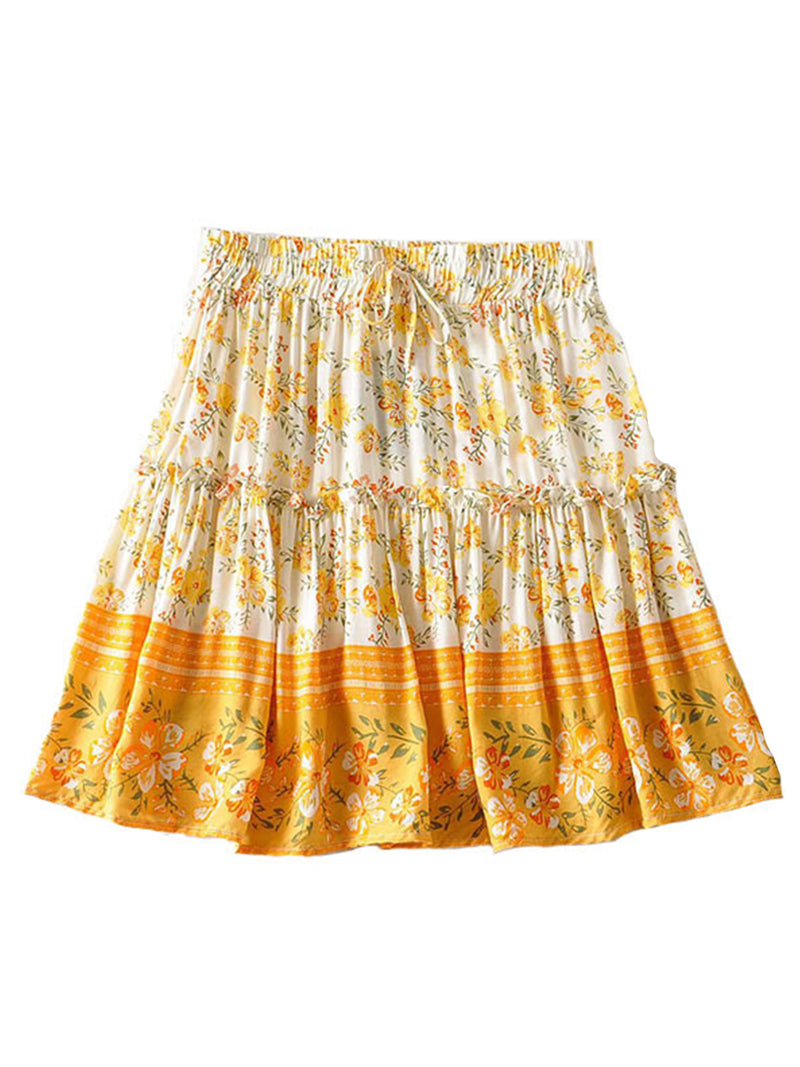 'Paulina' Ruched Floral Frill Mini Skirt