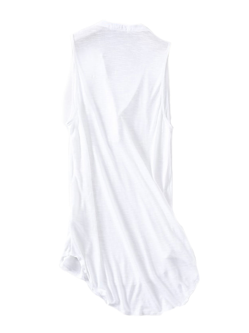 'Timea' Basic Button Sleeveless Tank Top (2 Colors)