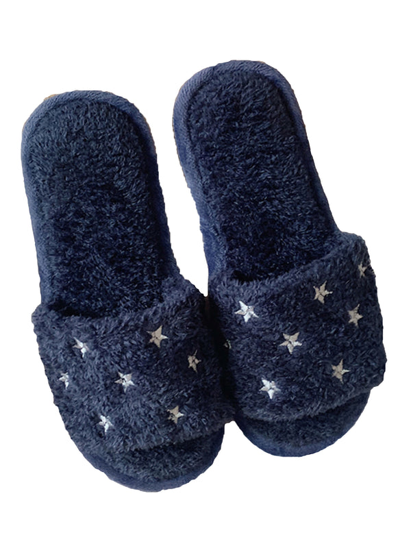 'Morganne' Star Print Fur Slippers (2 Colors)