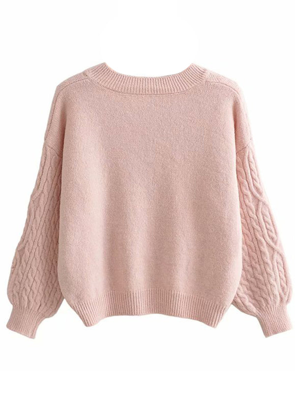 'Sierra' Cable Knit Distressed Sweater (4 Colors)