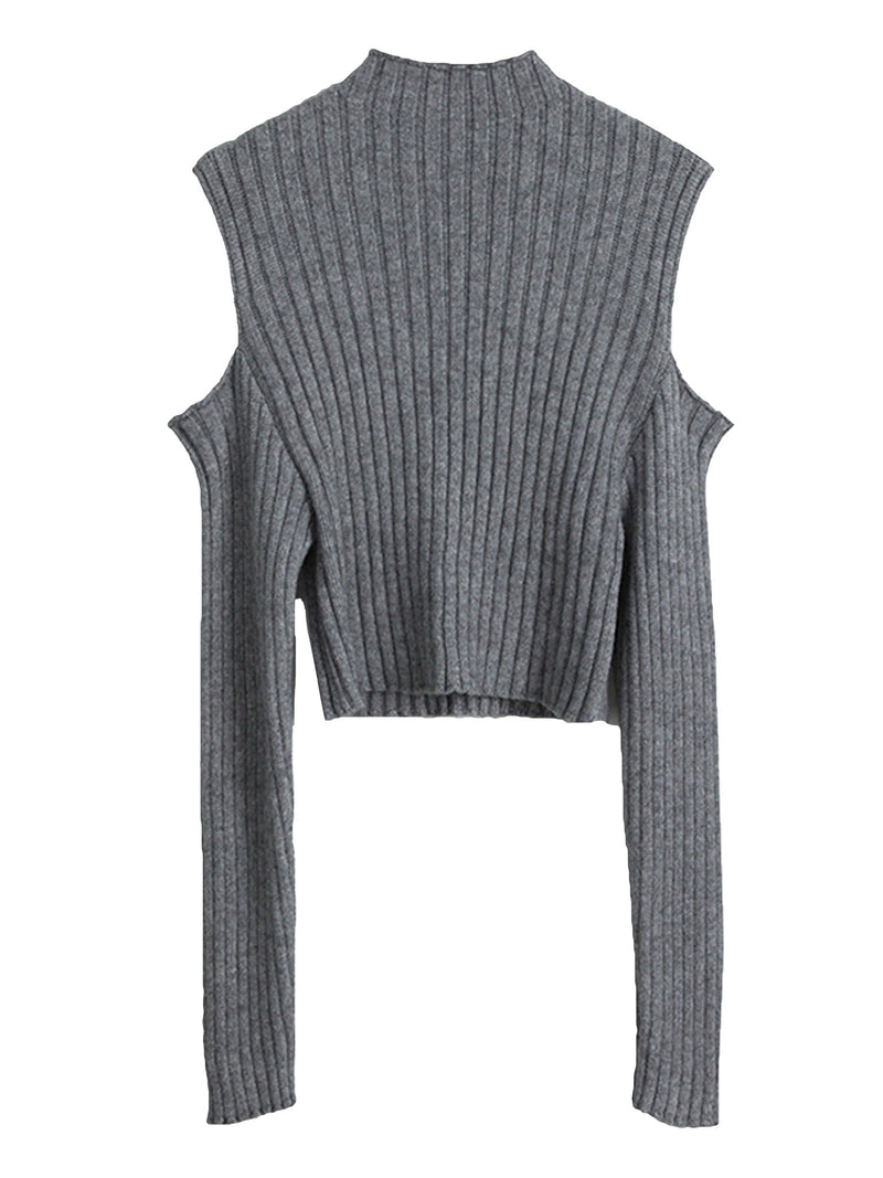 'Ethan' Ribbed Cut-Out Shoulder Sweater (4 Colors)