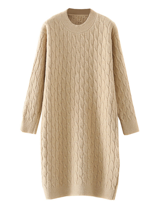'Kenzy' Crewneck Cable Knit Sweater Dress