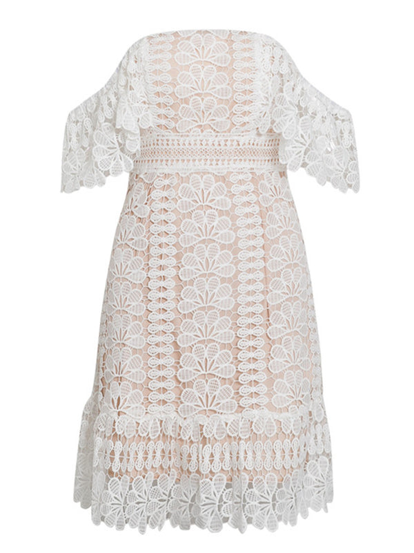 'Molly' Crochet Lace Off Shoulder Mini Dress