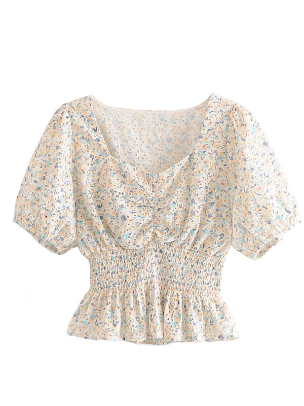 'Florence' Floral Eyelet Puff Sleeves Top (2 Colors)