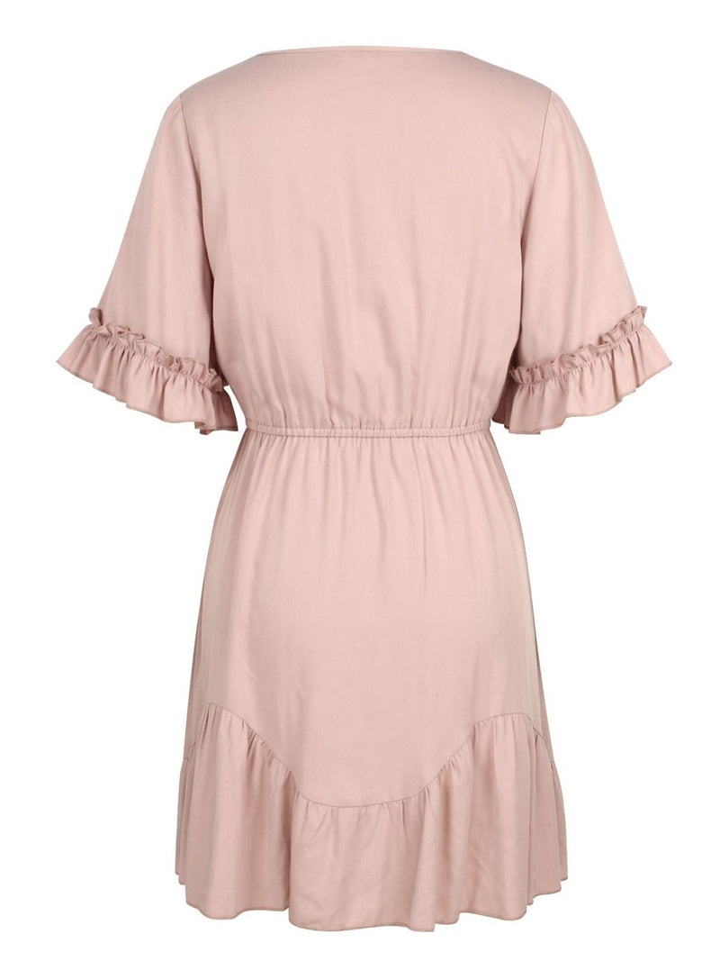 'Agnes' V-neck Ruffled Tied Waist Mini Dress (2 Colors)