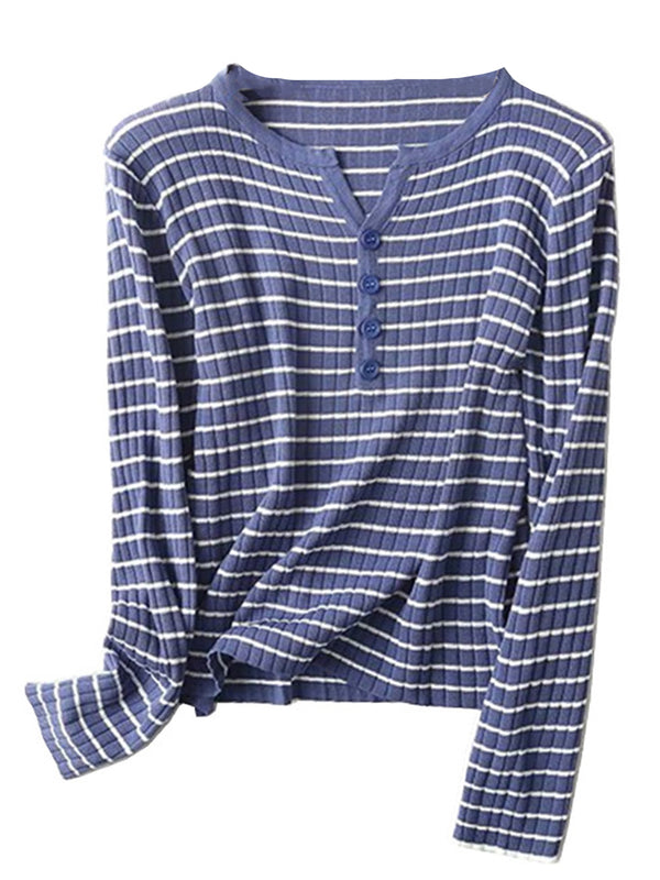'Adelle' Striped Buttoned Ribbed Top (4 Colors)