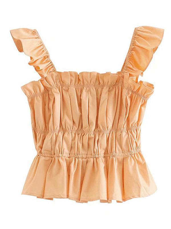 'Margaret' Ruffled Sleeve Ruched Top