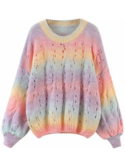 'Gabriela' Mixed Color Open Work Knitted Sweater (2 Colors)