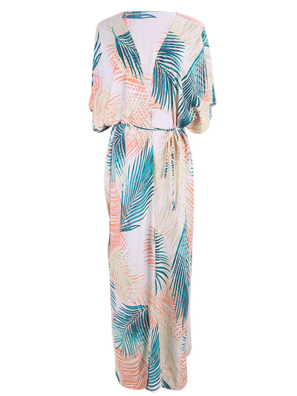 'Catalina' Leaf Printed Beach Cover-up