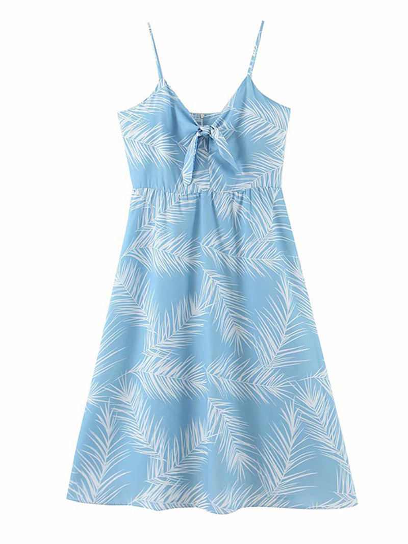 'Tina' Front Tied Leaf Print Dress
