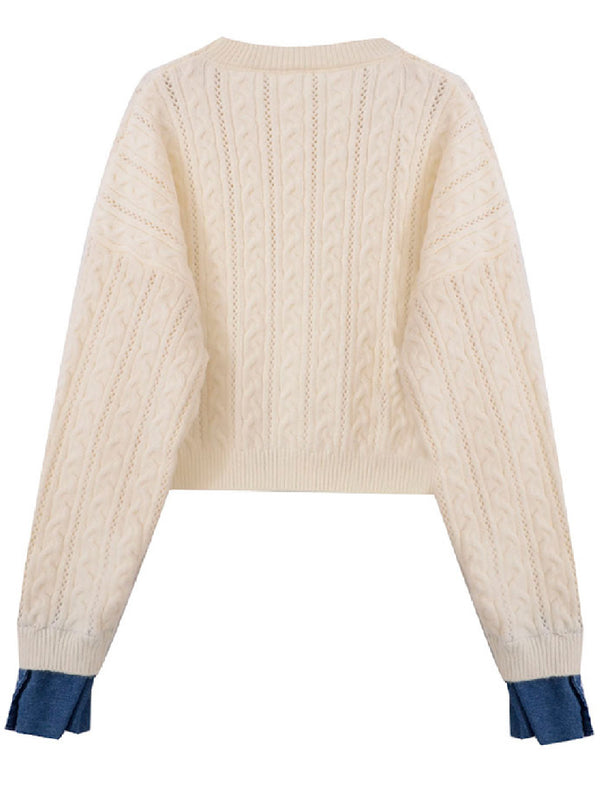 'Uri' Cable Knit Shirt Sweater (2 Colors)