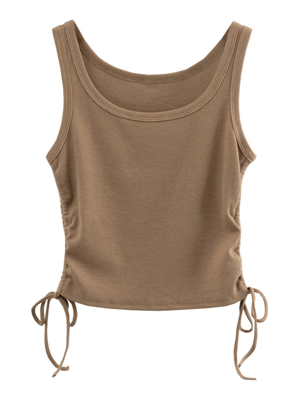 'Gigi' Drawstring Ribbed Tank Top (5 Colors)