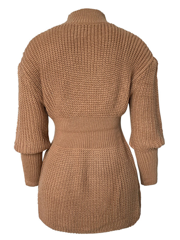 'Jessy' High Neck Ribbed Waist Sweater