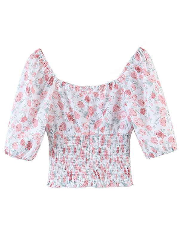 'Paula' Floral Ruched Drawstring Top (2 Colors)