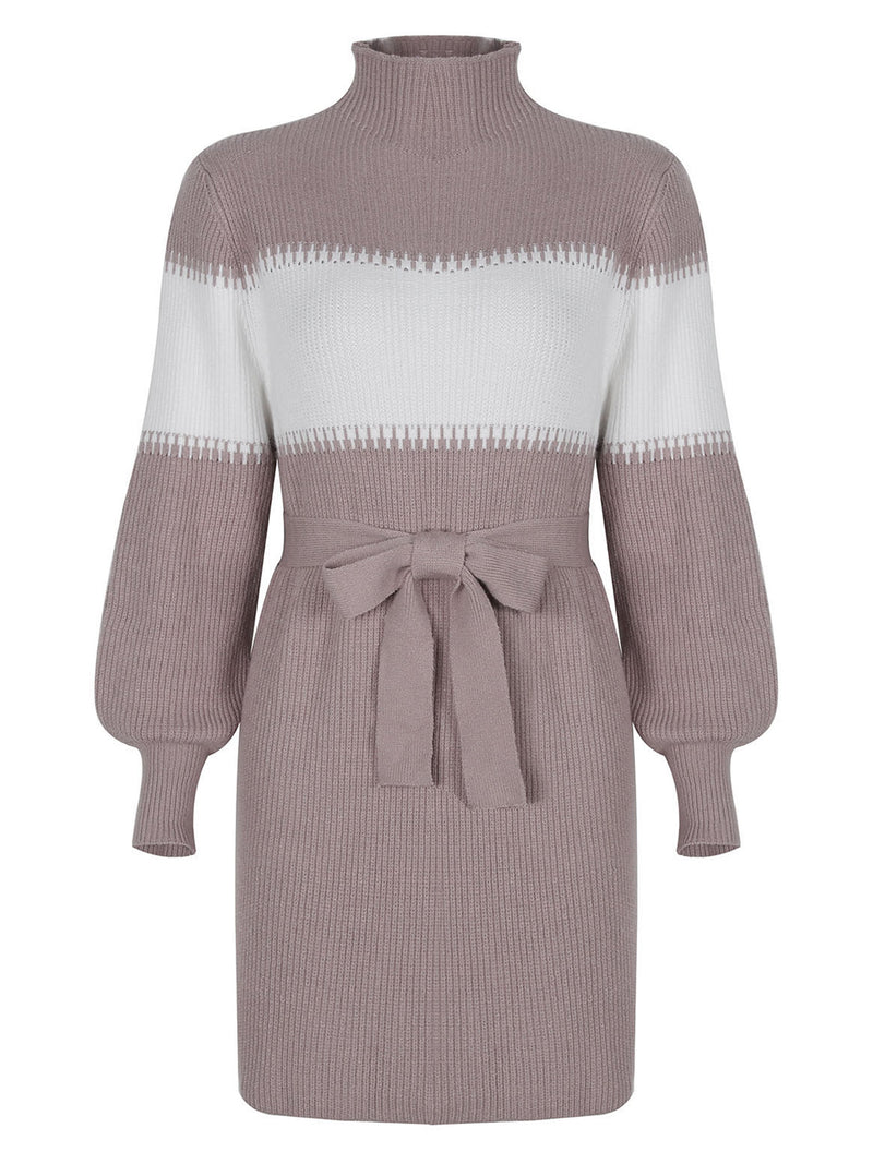 'Amy' Colorblock Tied Waist Knitted Mini Dress
