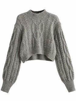 'Tamara' High Neck Cable Knit Cropped Sweater