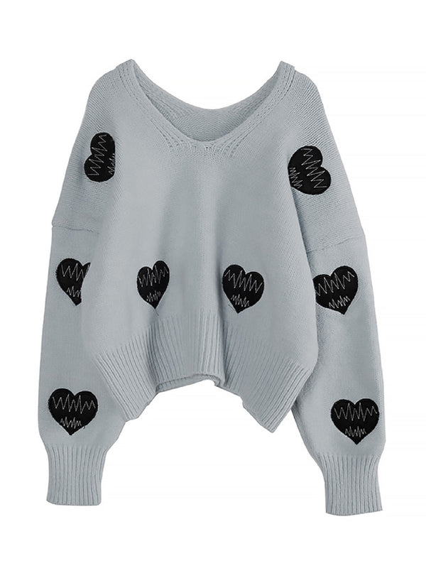 'Hannah' V-Neck Heart Pattern Sweater