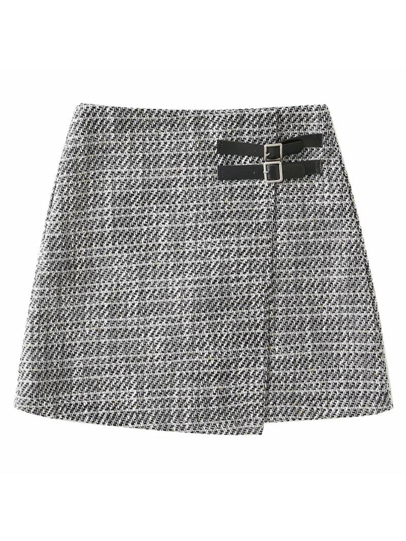 'Sarah' Double Buckle Tweed Mini Skirt