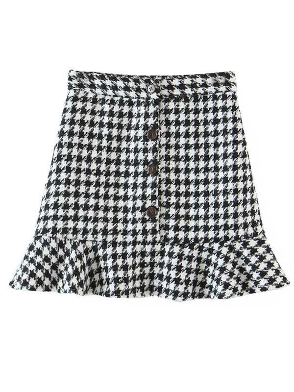 'Carla' Houndstooth Ruffled Mini Skirt