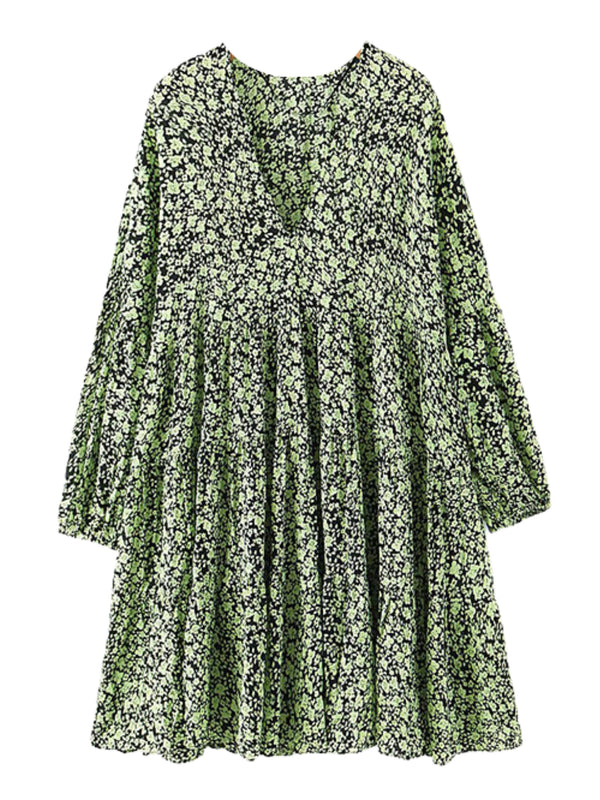 'Elva' Floral Printed V-neck Dress