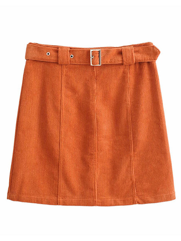 'Sammi' Corduroy Belted Mini Skirts (3 Colors)