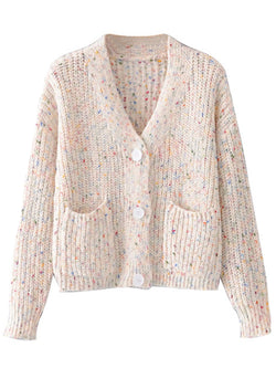 'Florence' Mixed Knit Button Down Cardigan With Pockets