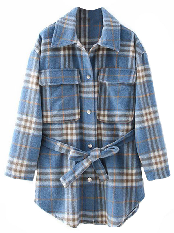 'Roxy' Plaid Pocket Shirt with Waist Tie