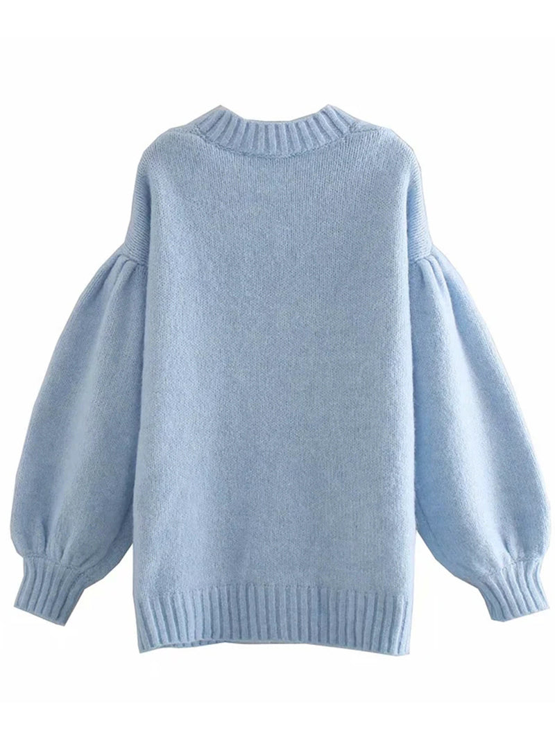 'Raya' Blue Oversized Puff Sleeves Buttoned Cardigan