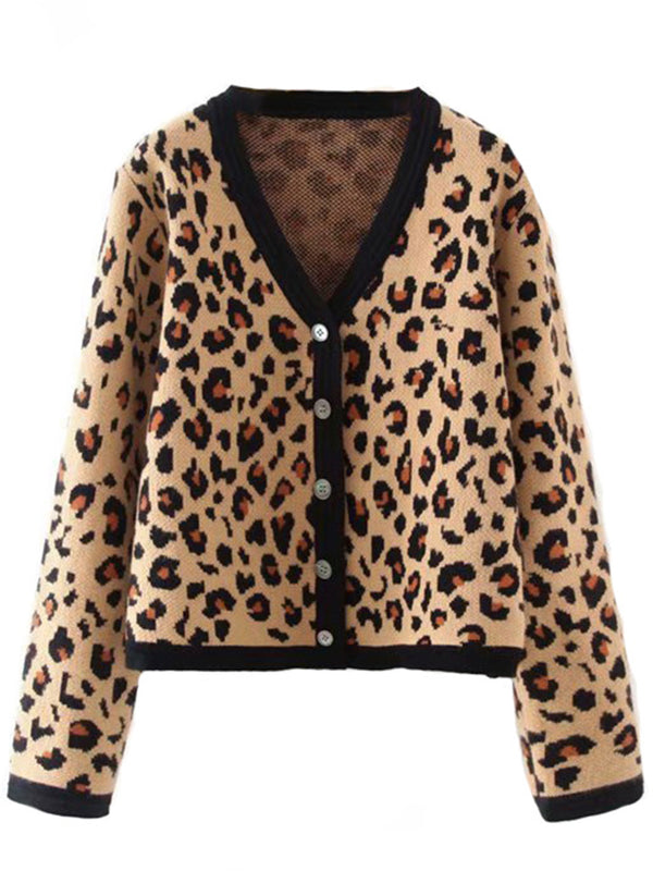 'Cassidy' Buttoned Leopard Printed Cardigan