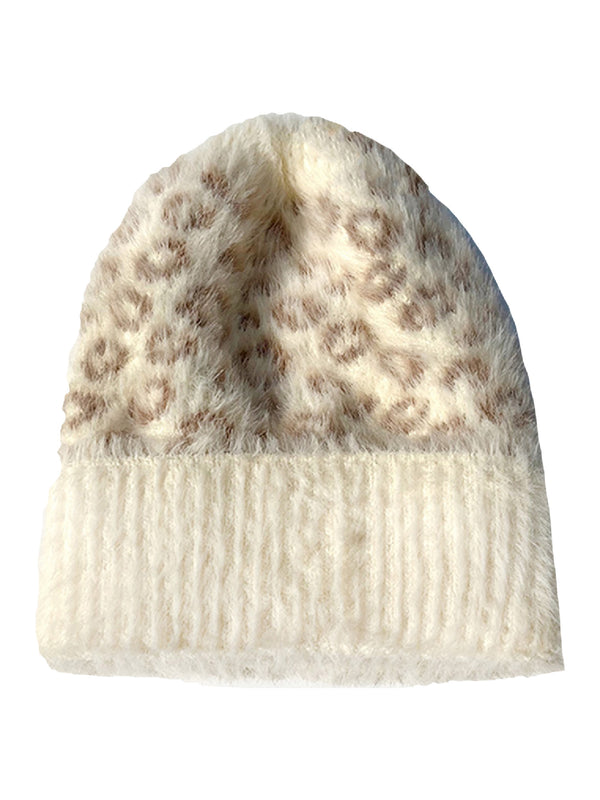 'Ivonna' Leopard Printed Fleece Beanie (3 Colors)