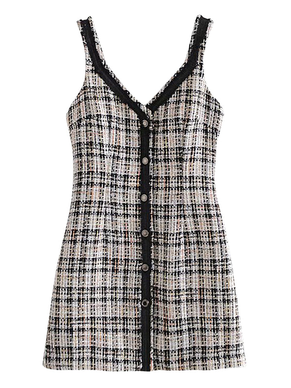 'Cabello' V-neck Buttoned Plaid Mini Dress