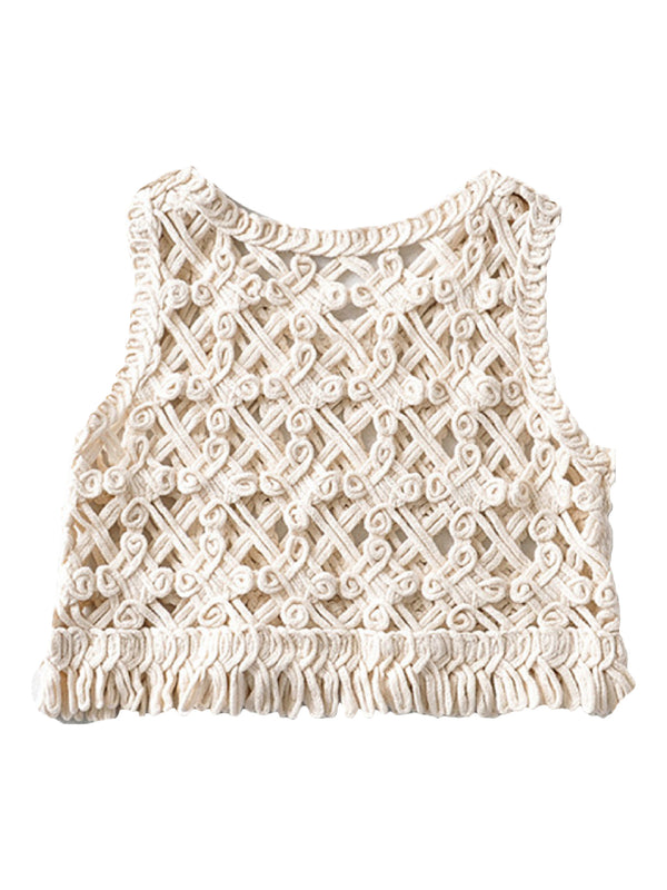 'Mila' Crochet Lace Tassel Cami Top (2 Colors)