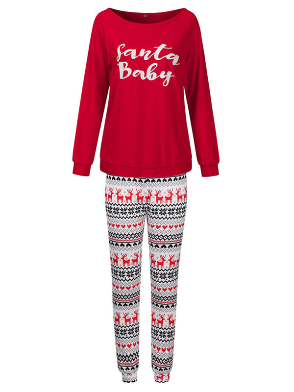 'Megan' Crewneck 'Santa Baby' Letter PJ Set (2 Colors)