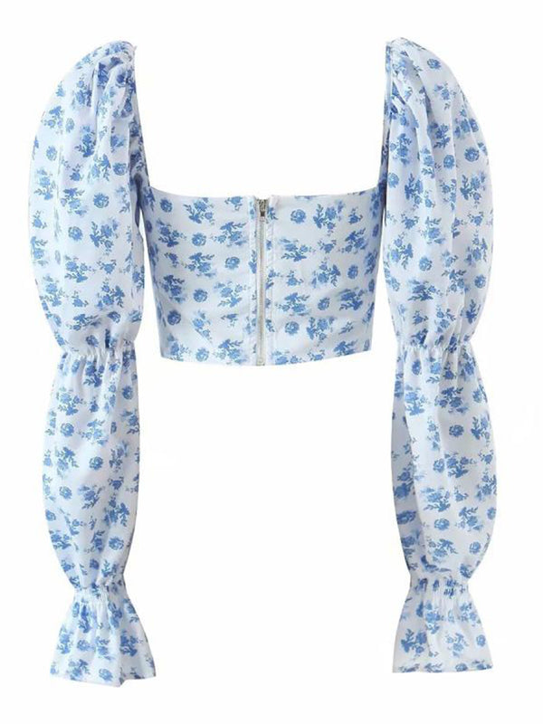 'Kary' Floral Printed Cropped Blouse with Bow