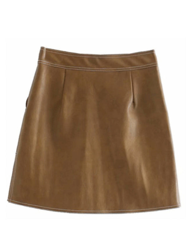 'Fiona' Faux Leather Zip-Up Mini Skirt