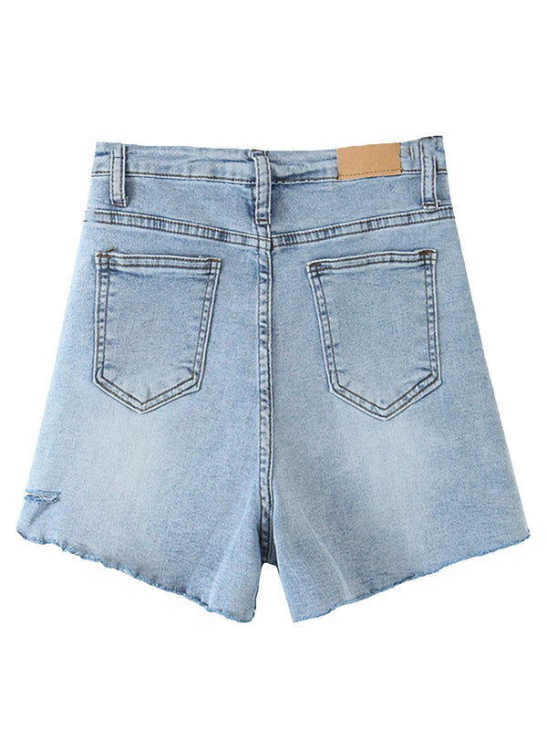 'Lena' Mid-length Distressed Denim Shorts