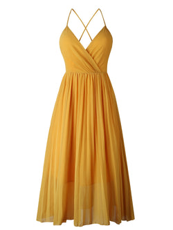 'Sienna' V-neck Open Back Pleated Maxi Dress (2 Colors)