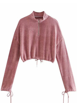 'Eami' Fleece Drawstring Cropped Pullover