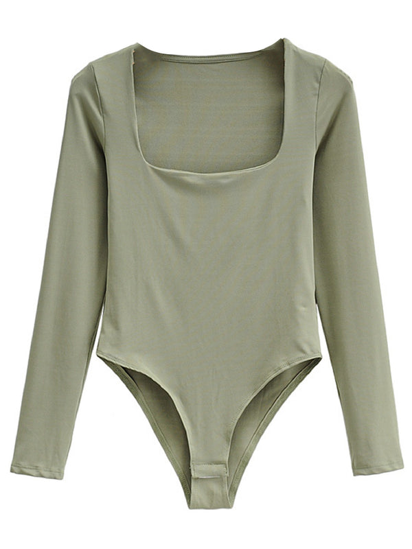 'Saima' Square Neck Long Sleeves Bodysuit (5 Colors)