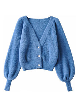 'Cara' Fuzzy Button Down Cropped Cardigan (2 Colors)