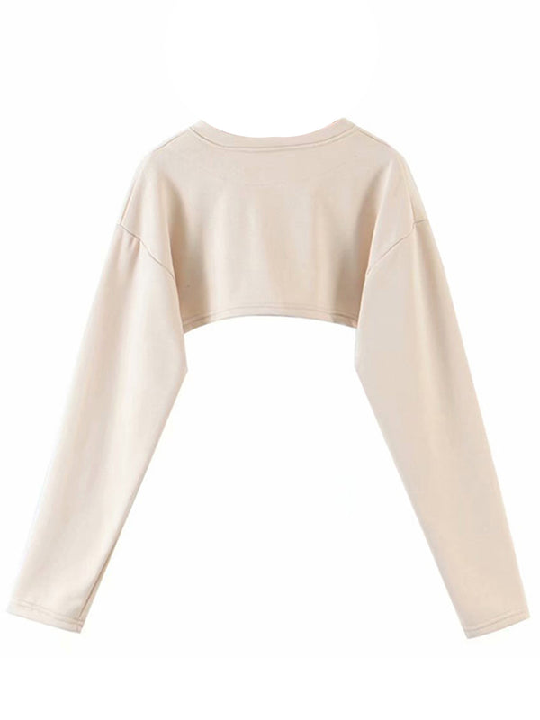 'Jacquie' Super Cropped Buttoned Sweatshirt