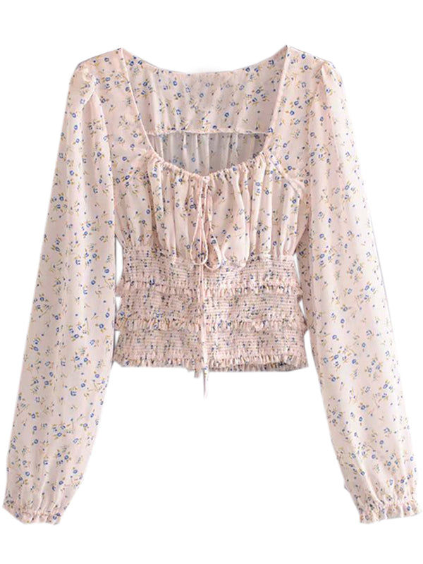 'Regeana' Floral Printed Ruched Blouse