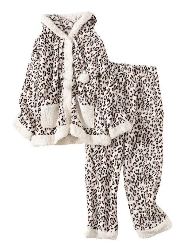 'Shawn' Leopard Printed Soft Fleece Loungewear Set
