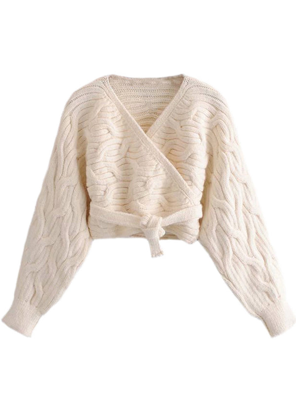 'Jolianna' Cable Knit Wrap Tied Sweater