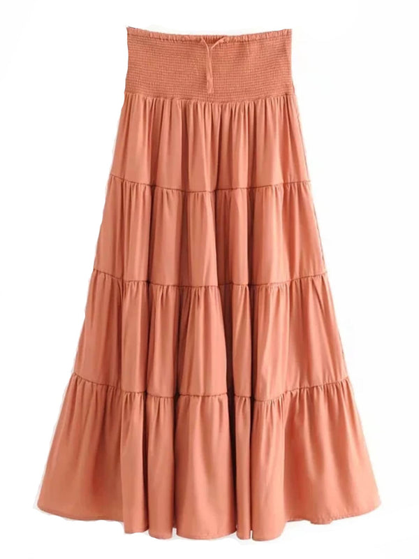 'Emma' High Waisted Tiered Midi Skirt (2 Colors)