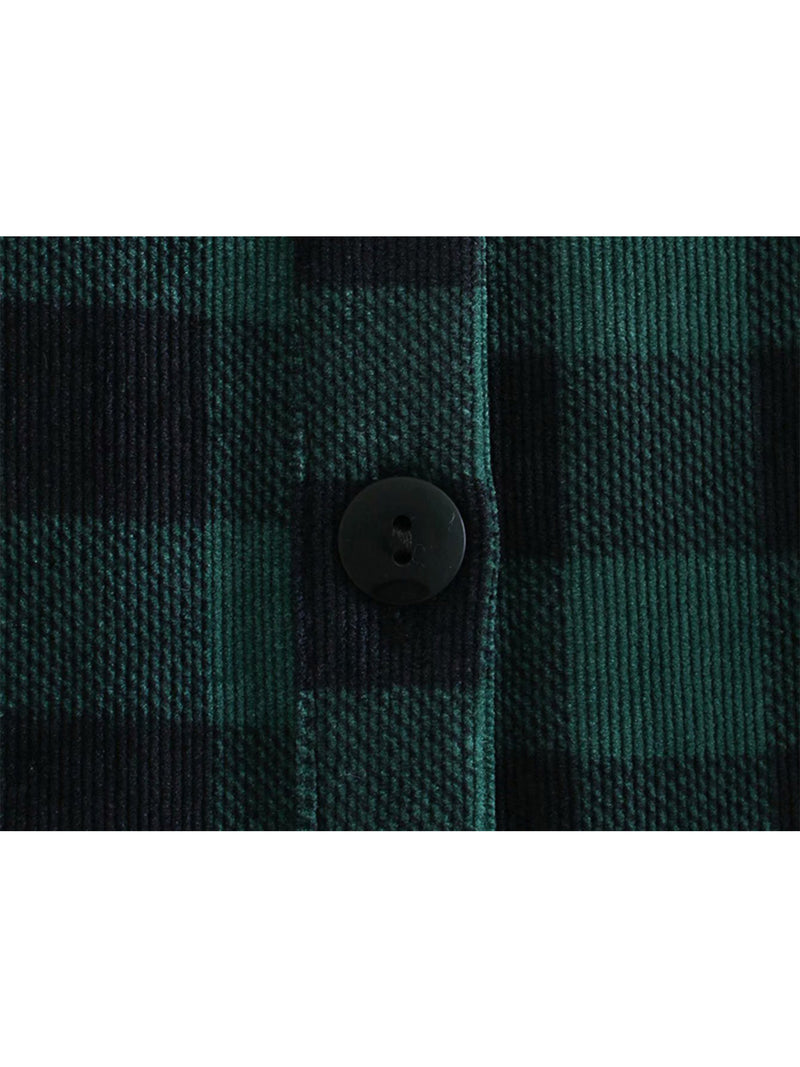 'Morgan' Corduroy Plaid Shirt Dress