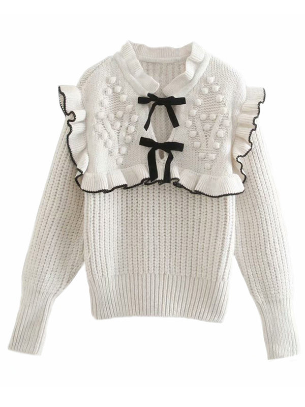 'Esther' Ruffle Neck Double Bow Knit Sweater