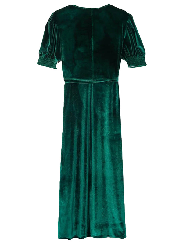 'Fiona' V-Neck Velvet Tied Maxi Dress