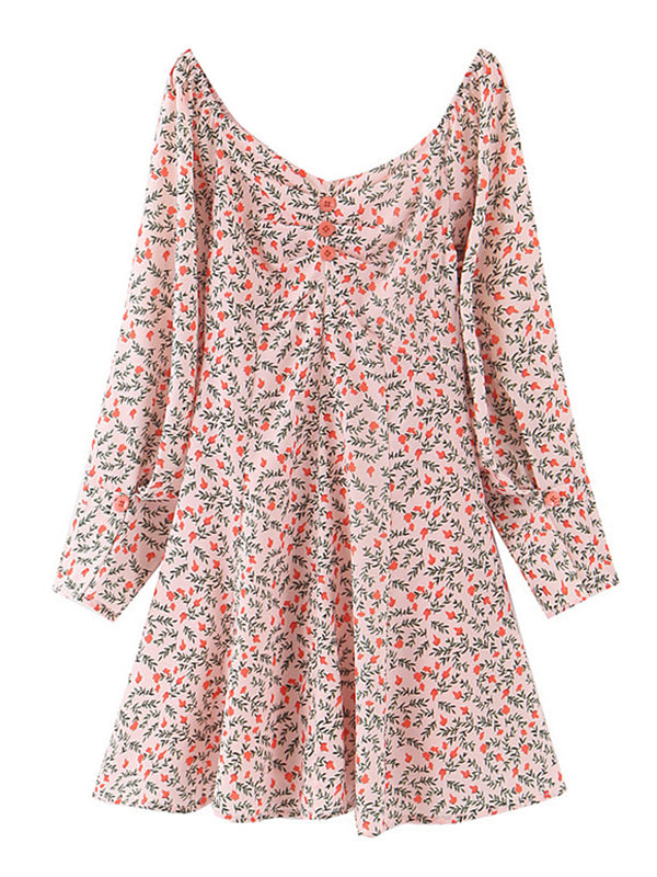 'Kristin' Flora Printed Wide Neck Mini Dress