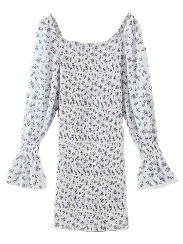'Alexandra' Floral Printed Puff Sleeves Drawstring Mini Dress
